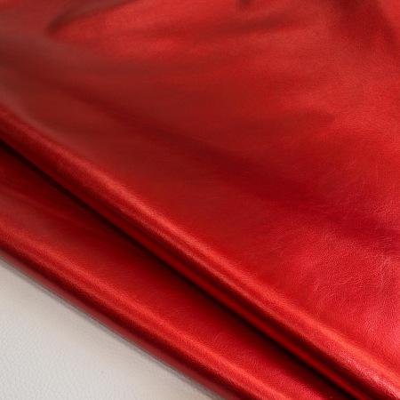 Кожа Галактика металлик красный