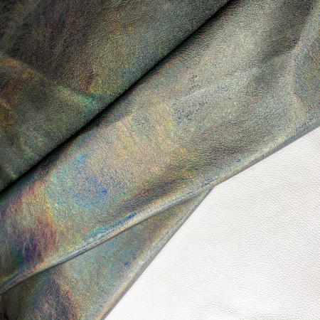 Кожа Голография металлик темное серебро