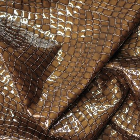 Кожа Крокодил лак, коричневый
