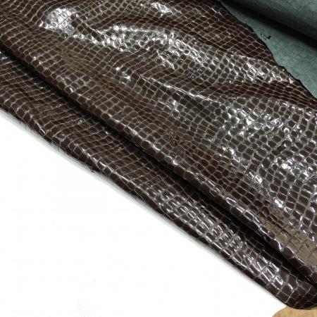 Кожа Крокодил лак, темно-коричневый